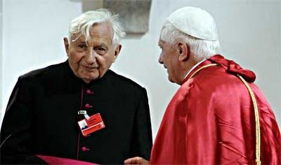 His Holiness Pope Benedict XVI and Reverend Monsignor Georg Ratzinger