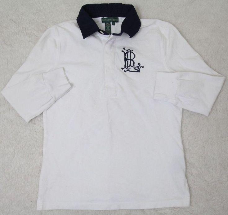 Ralph Lauren Polo Shirt Boys White Cotton Blend XS Extra Small Long Sleeve Kids #RalphLauren #Everyday