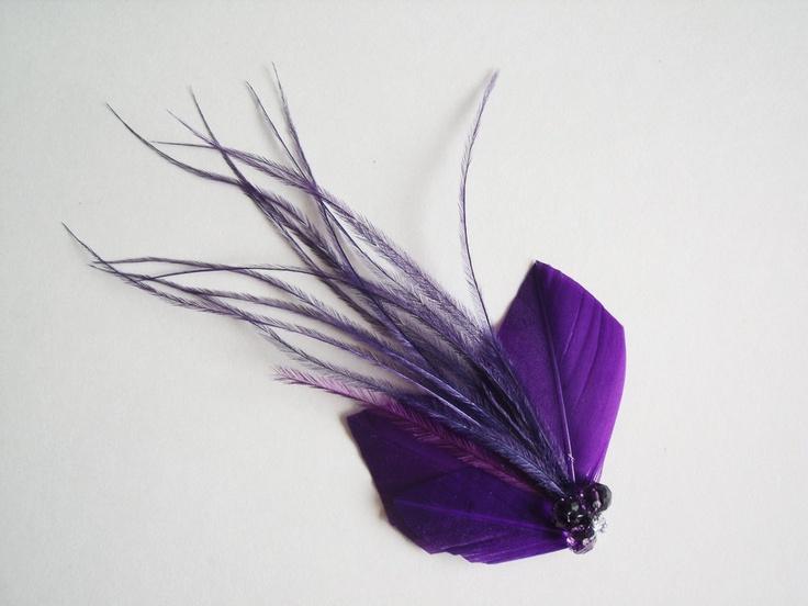Feather Hair Clip - Bridal Feather Hair Clip - Purple Bridal Head Piece