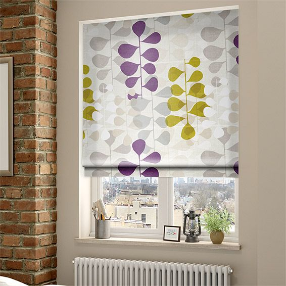Blooming Meadow Faux Silk Amethyst Roman Blind