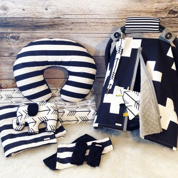Black grey monochrome Newborn baby carseat set by SnugglyLilBabes