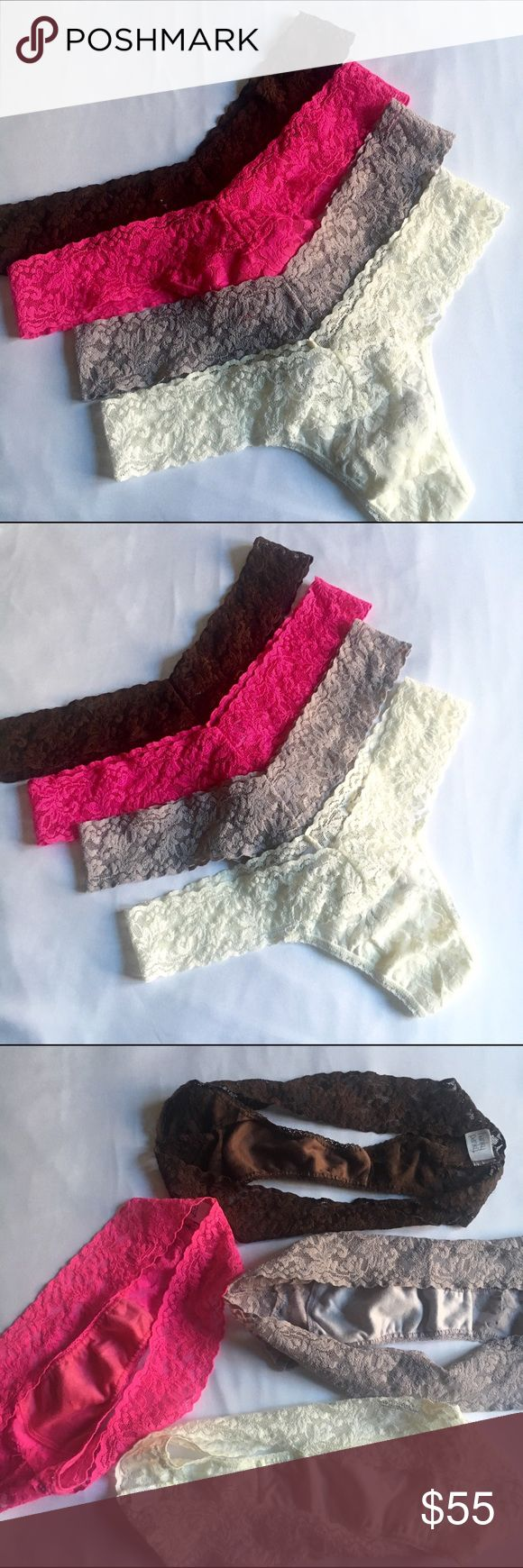 🎉SALE🎉 NWOT Hanky Panky set of 4 lace thongs New without tags Hanky Panky lace thongs in brown, hot pink, lilac and cream. These 4 were part of a bigger set. These have not been worn, but have been washed prior to selling. Comes from a pet-free, smoke-free home. Hanky Panky Intimates & Sleepwear Panties