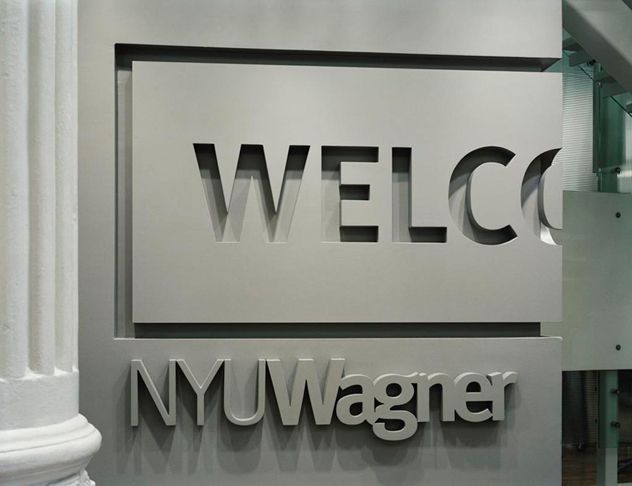 Pentagram – Signage and environmental graphics for New York University Wagner School of Public Service