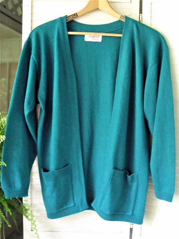 Vintage Turquoise Cardigan-Jacket/ Cotton Knit Labeled Laura