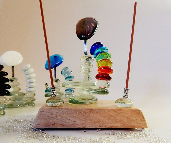 Seven Chakra Glass and Wood Incense Holder by MadeWithAltitude