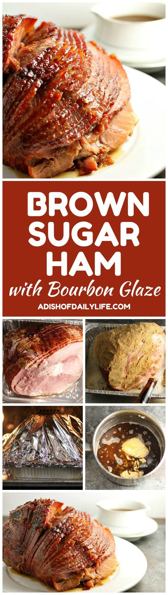 Brown Sugar Ham with Bourbon Glaze...this easy ham recipe is perfect for Christmas or Easter!