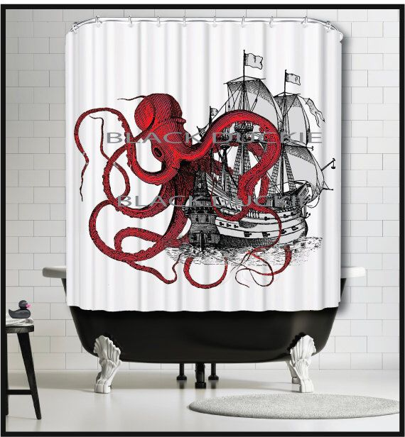 Red Octopus playing with Galleon Ship Shower Curtain - Kraken tentacles tall ship boat red shower curtains by MySillyPoni on Etsy https://www.etsy.com/listing/226188400/red-octopus-playing-with-galleon-ship