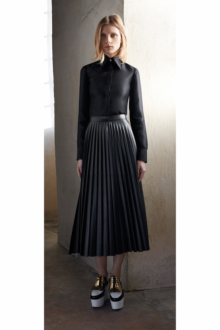 25 best Black leather midi skirt images on Pinterest