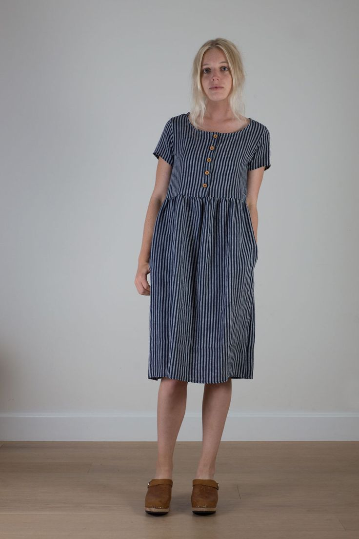 Indigo striped linen womens day dress by PyneandSmith on Etsy https://www.etsy.com/listing/235815942/indigo-striped-linen-womens-day-dress