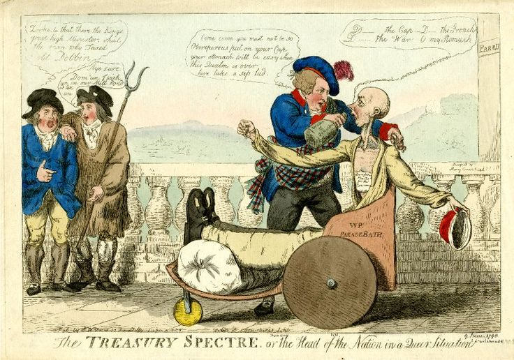 """The Treasury Spectre, or the Head of the Nation in a Queer Situation"" by Isaac Cruikshank. A scene on the Parade at Bath. Pitt sits in profile to the right in a roughly made bath chair with solid wooden wheels, his swathed and gouty legs stretched out and supported on a bolster. His head is skull-like and his long neck emaciated; he wears a dressing-gown which reveals a bare chest on which is a paper: 'Strengthening Plaister for the Conscience'."
