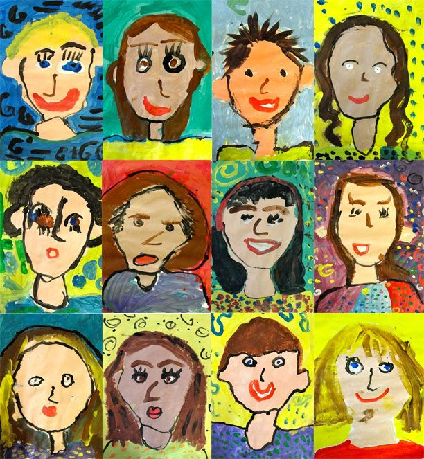 Kindergarten Self Portraits! How cute are these? Trace an oval template, draw in their eyes, neck and shoulders and then embark on a painting adventure. They paint their faces and necks first, their tops next and backgrounds last. Set aside to dry. Next class, paint eyes, nose and mouth. Add hair and voila! A beautiful self portrait!