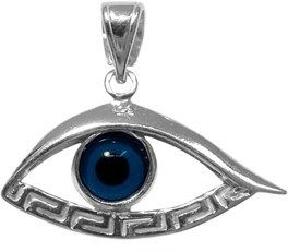 JewelryAffairs Sterling Silver Greek Key Evil Eye Pendant.