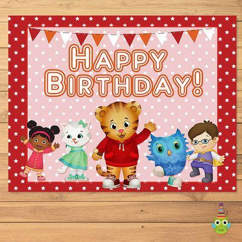 Daniel Tiger Happy Birthday Sign Red Stars - Daniel Tiger Birthday - Daniel Tiger Party Favors - Daniel Tiger Printables