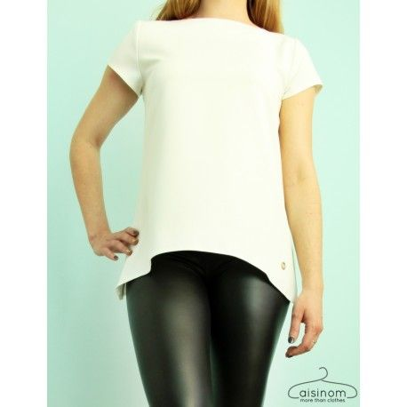 Biała bluzka z przedłużonymi bokami - by Mielczarkowski