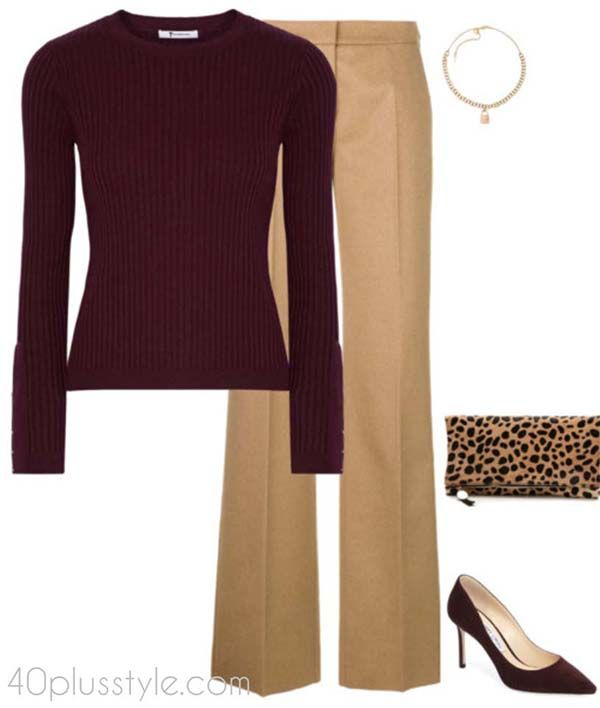 High waisted pants outfit for petite women | 40plusstyle.com