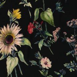 Vevet viskose sort med blomster