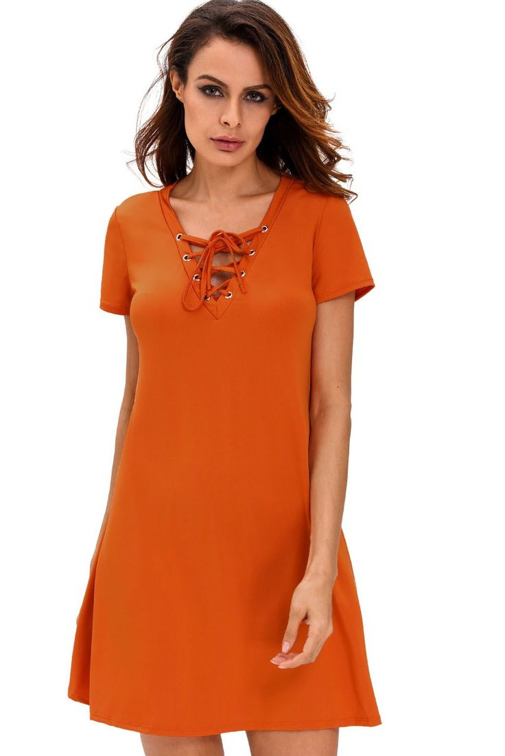 Patineuses Robes Orange Casual Lace Up Robe Trapeze Pas Cher www.modebuy.com @Modebuy #Modebuy #CommeMontre #style #sexy #me