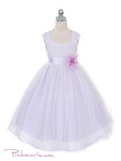 Lilac Elegant Silk Shantung with Soft Mesh Overlay Girl Dress