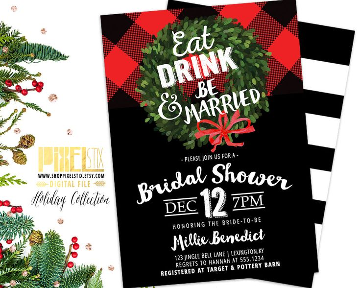 Bridal Shower Invitation, Rustic Shower Invite, Buffalo Plaid Shower, Christmas Bridal Shower, Wedding Shower, Eat Drink and Be Married by shopPIXELSTIX on Etsy