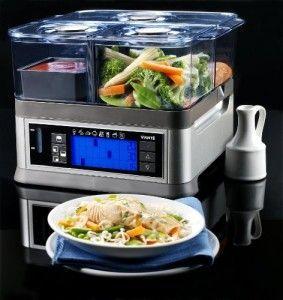 Viante CUC-30ST intellisteam counter top BPA FREE food steamer with 3 separate compartments to avoid favor mix, 8 preset functions, programmable digital controls, folding cord and external water inlet that allows you to add water without interrupting steaming process and so much more.