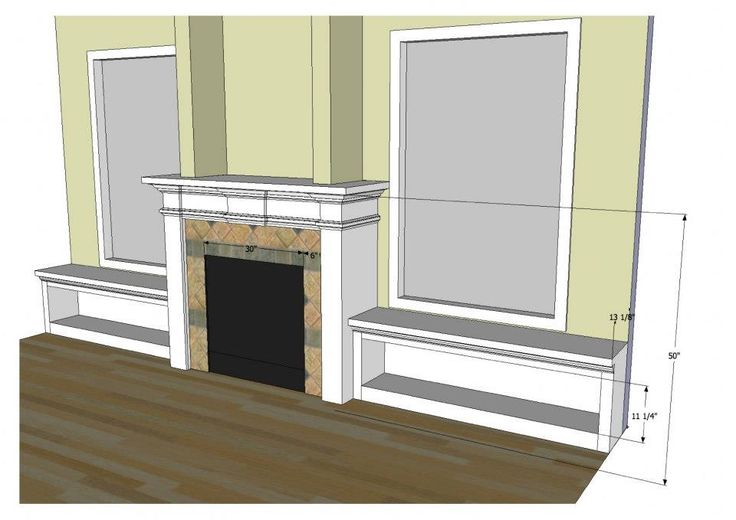 Fireplace with Windows On Each Side | ... side window seats with hinged lids. Bookcases built-in on each side