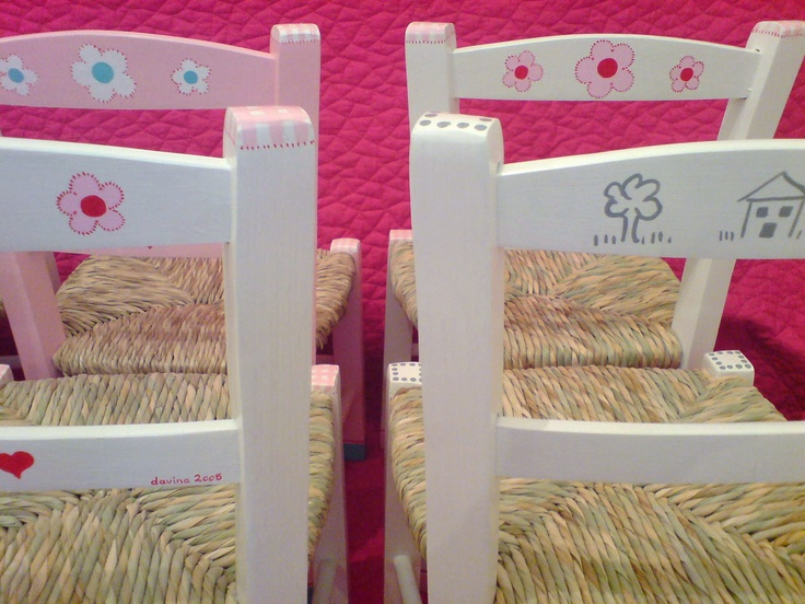 a wide selection of hand-painted chairs