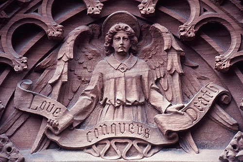 this hangs above the entrance to Roslyn Chapel, Scotland.  Indeed, Love is stronger than death