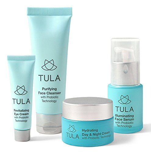 TULA Skin Care Healthy Glow Starter Kit with Probiotic Technology  Travelfriendly Facial Cleanser Day  Night Moisturizer Illuminating Serum  Eye Cream for Glowing and Youthful Skin * You can find out more details at the link of the image.