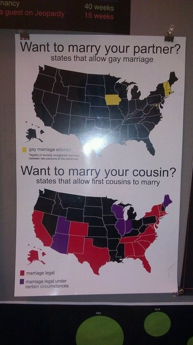 States Allowing Gay Marriage vs. States Allowing Marriage Between Cousins. I need to move to Canada.