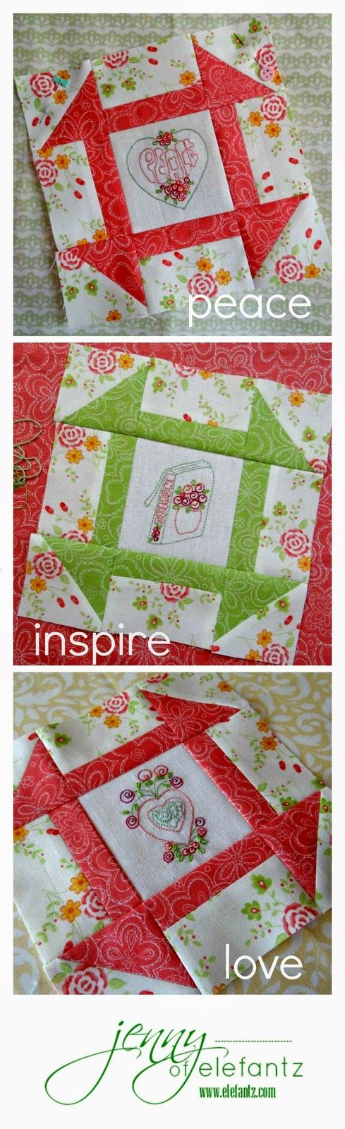 "First three blocks of the Shabby Roses Churn Dash Stitchalong! ""Peace"" ""Inspire"" ""Love""...only 9 more to come."