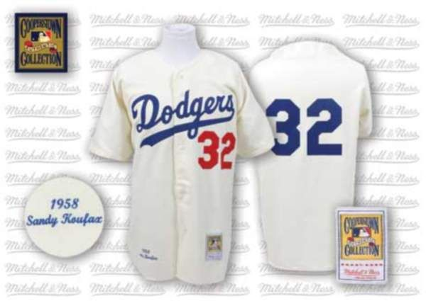 cdf9e65d ... xjersey cheap mlb los mitchell and ness dodgers 32 sandy koufax cream  throwback mlb jersey only ...