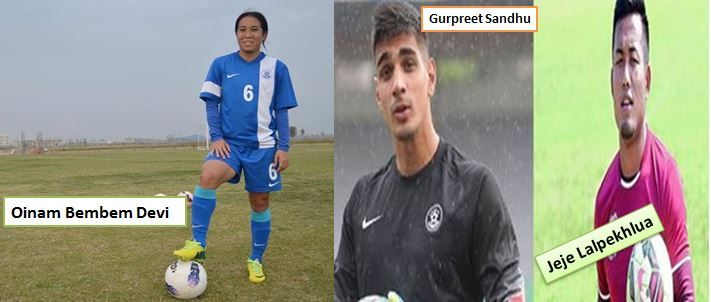 Bembem, Jeje nominated for #Arjuna  The legendary Oinam Bembem Devi, Jeje Lalpekhlua, and Gurpreet Sandhu have been nominated for the Arjuna Awards this year by the All India Football Federation (AIFF).  The 36-year-old Bembem called time on her illustrious international career at the end of the South Asian Games last year in Shillong, and an Arjuna will be a fitting reward for her services to the game, the AIFF felt.