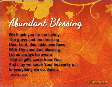 Thanksgiving Day Grace Thanksgiving Prayer