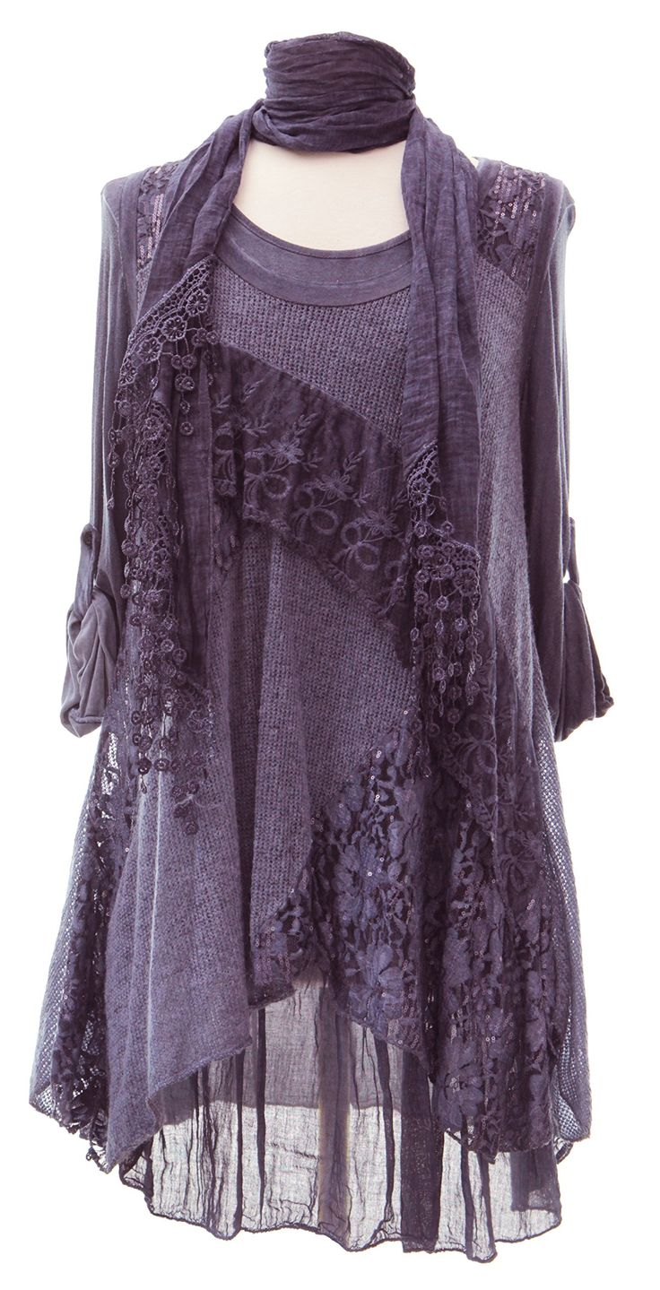 Ladies Womens Italian Lagenlook Quirky Layering 3 Piece Sequin Lace Knit Mohair Long Sleeves Scarf Tunic Top Dress One Size Plus (UK 10-20) (One Size Plus, Purple)
