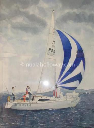 """""""Acrasia"""" by Nuala Holloway - Watercolour (Commission) #Yachts #Sailing #Boats"""