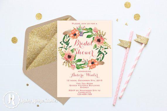 Printable Bridal Shower Invitation, Coral Watercolor Floral, Coral Watercolour Floral, Bohemian Floral, Hens Party, Kitchen Tea