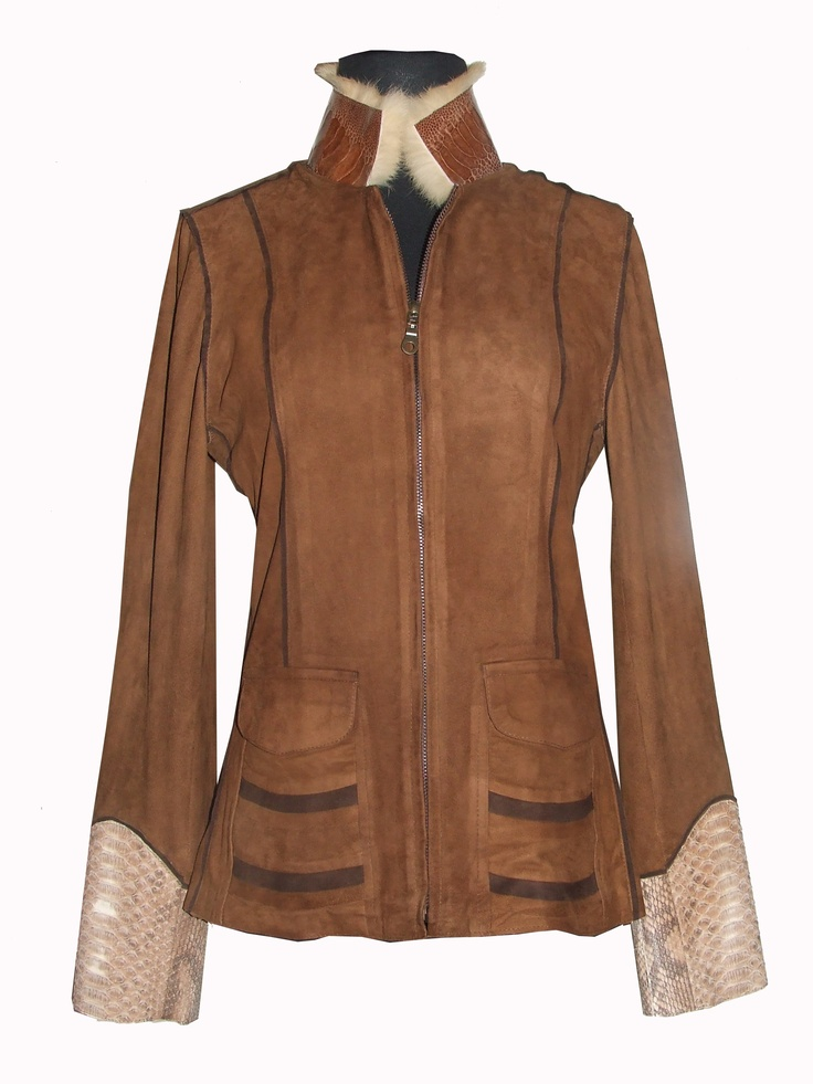 B Gucci Jacket in Suede with Shearling, Python and Ostrich.   We Deliver Worldwide. Order now by writing to us on Facebook or e-mailing sales@annatrzebinski.com.  For further information about our products, studio and upcoming trunk shows please feel free to contact us.