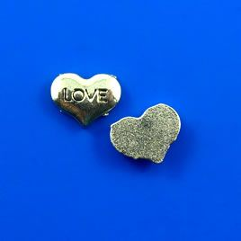 "#Floating #charm, silver-finished, 7x9mm heart ""LOVE"". #TreasureStone Beads Edmonton."