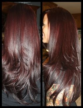 Burgundy hair color. Looks brown but when the light hits it you see the maroon tone.