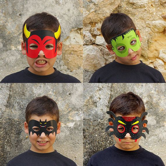 8 Halloween Paper Masks  Printable PDF  DIY Paper Toy   by pukaca,