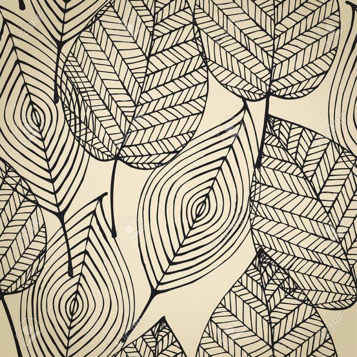 Otoño De Color Beige Sin Patrón Estilizado Hoja Seamless Textura Plantilla Decorativo Con Hojas Ilustraciones Vectoriales, Clip Art Vectorizado Libre De Derechos. Pic 15497832.