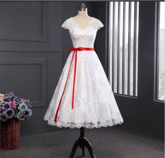 Kleider - Kurz V-Ausschnitt A-Linie Standesamt Brautkleid - ein Designerstück von YYYang bei DaWanda