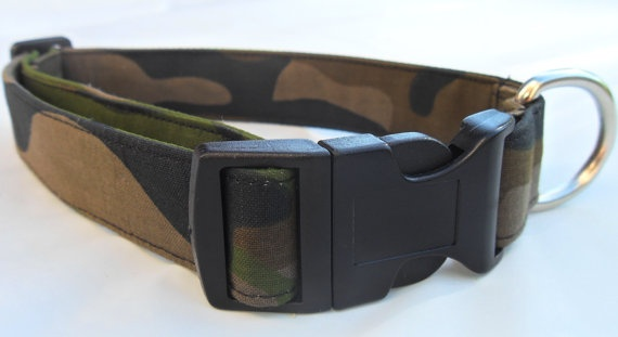 Camoflage dog collar  green/blk  Large by CollarYourDog on Etsy, $14.00