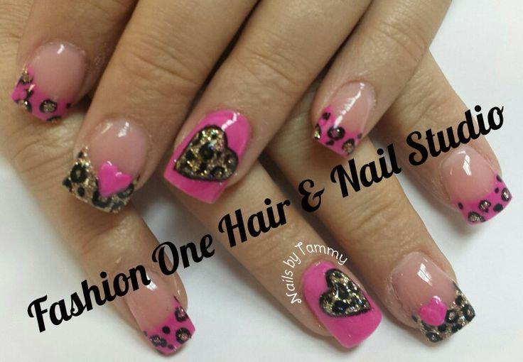Cheetah nails #pink #cheetah  #hearts #coloredacrylic #3Dnails #handpaint #nailsbytammy