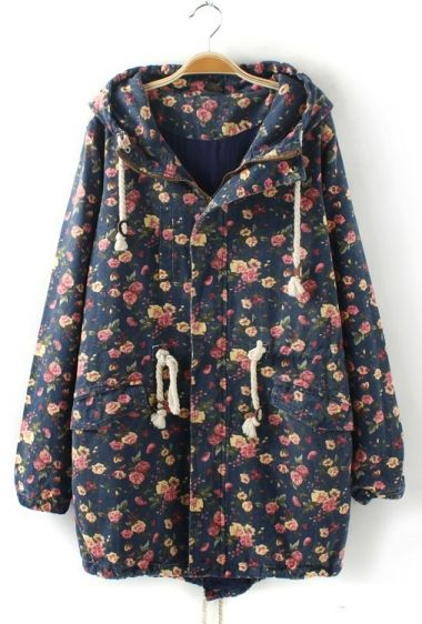 Vintage Floral Print Denim Coat Outerwear