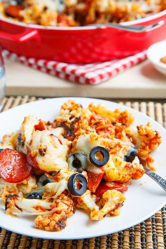 Yum! Cauliflower Pepperoni Pizza Casserole-substitute chicken instead of pepperoni, use organic/low cal sauce, be careful with the cheese.