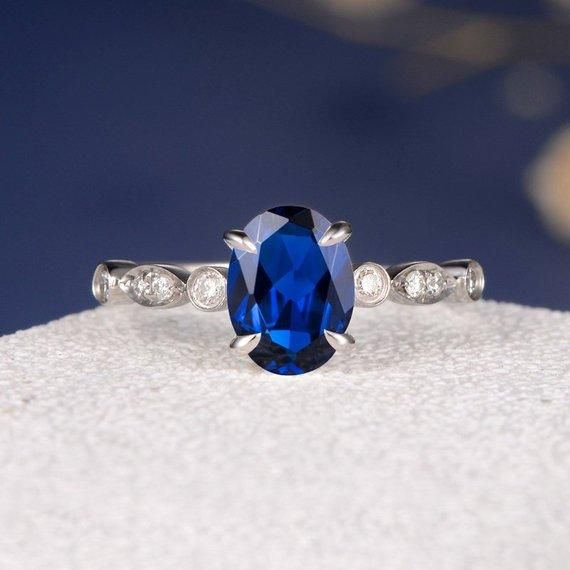 Lab sapphire ring oval cut September birthstone ring white gold engagement ring for women