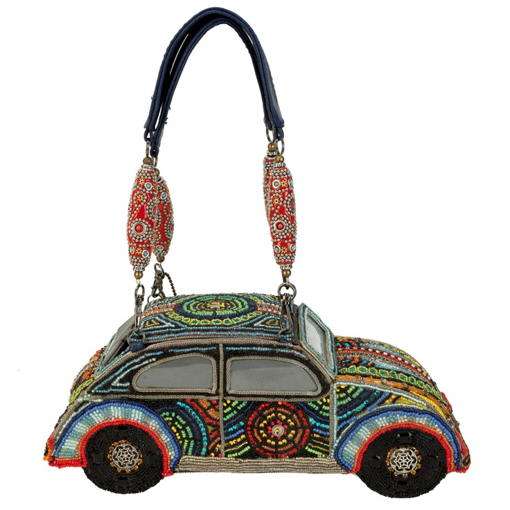"""Mary Frances Wild Ride Car Purse The """"roof"""" opens for a large interior compartment to hold all of your necessities. The body of the bag is all hand-beaded in an ultra-psychedelic manner #handbags"""