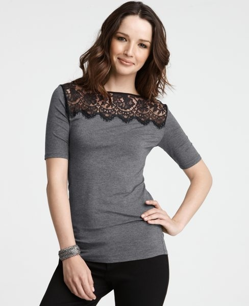 """Lace yoke top- very romantic, without being """"too much""""    Sold out  :("""