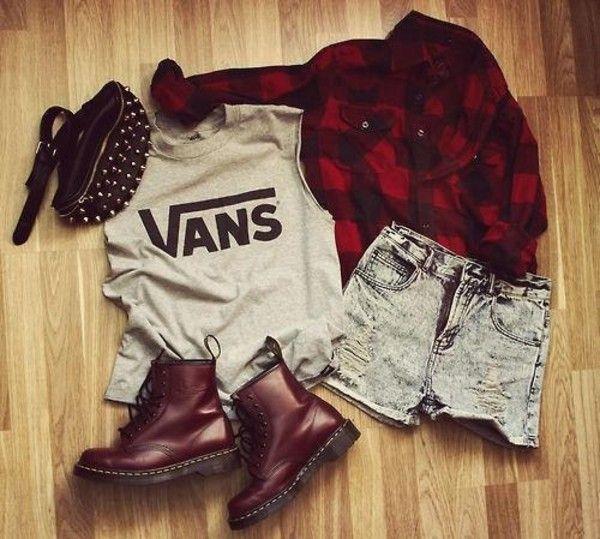 Shoes: combat boots vans shorts high waisted short flannel shirt red flannel shirt purse